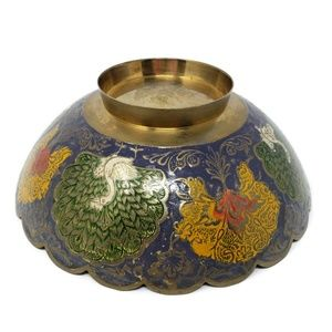 """Vintage Accents - Vtg Brass Bowl with Enameled Peacocks 7.5"""""""